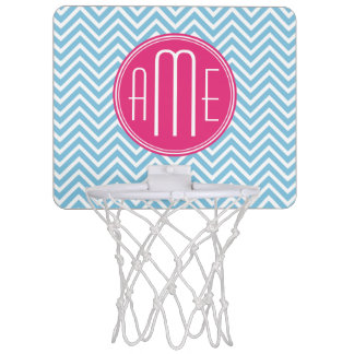 Monograma rosado magenta con Chevron azul claro Mini Aro De Baloncesto