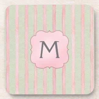Monograma rosado y gris elegante de la raya posavasos para bebidas