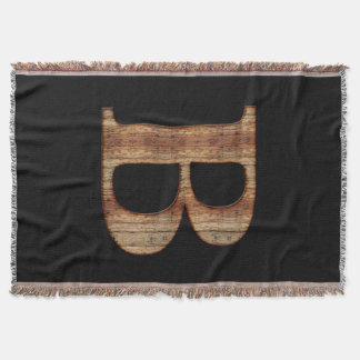 Monograma rústico de madera del negro del vintage manta tejida