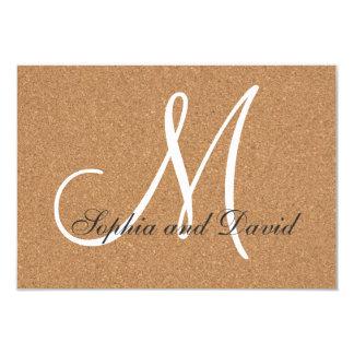 Monograma rústico RSVP del boda del corcho del Invitación 8,9 X 12,7 Cm