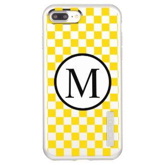 Monograma simple con el tablero de damas amarillo funda DualPro shine de incipio para iPhone 8 plus/