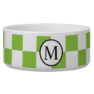 Monograma simple con el tablero de damas del verde comedero para mascota