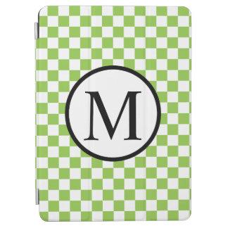 Monograma simple con el tablero de damas del verde cover de iPad air