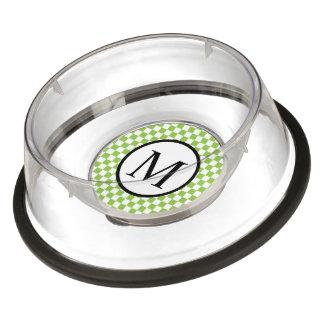 Monograma simple con el tablero de damas del verde cuenco para mascotas