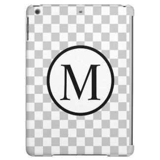 Monograma simple con el tablero de damas gris