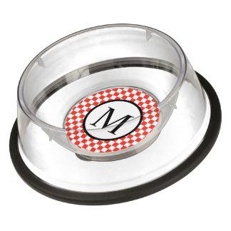 Monograma simple con el tablero de damas rojo cuenco para mascotas