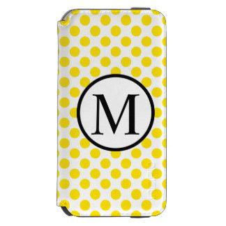 Monograma simple con los lunares amarillos funda cartera para iPhone 6 watson