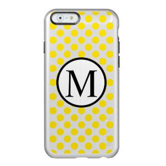 Monograma simple con los lunares amarillos funda para iPhone 6 plus incipio feather shine