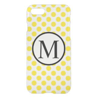 Monograma simple con los lunares amarillos funda para iPhone 7
