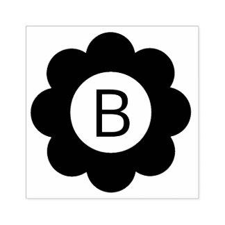Monograma simple de la flor sello de caucho