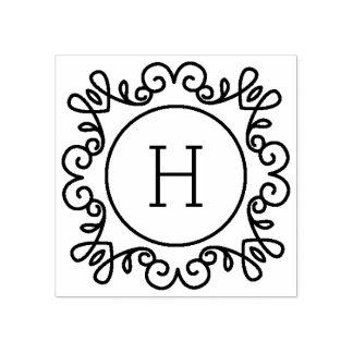 Monograma simplemente adornado sello de caucho