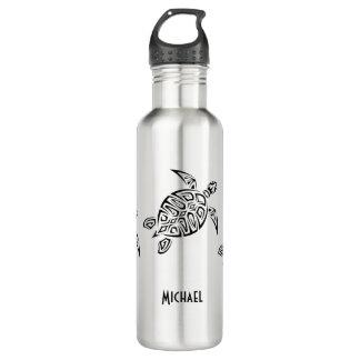 Monograma tribal de la tortuga negra botella de agua