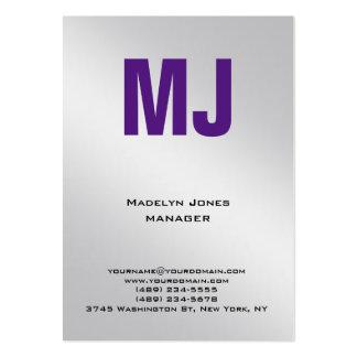 Monograma único de moda del profesional del gris tarjetas de visita grandes
