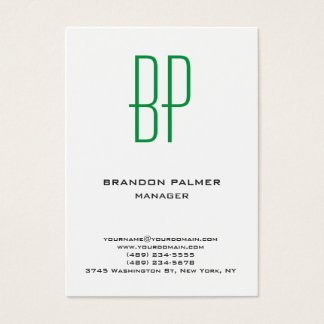 Monograma verde blanco minimalista llano moderno tarjeta de negocios