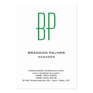 Monograma verde blanco minimalista llano moderno tarjetas de visita grandes