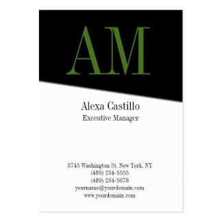 Monograma verde blanco negro profesional vertical tarjetas de visita grandes