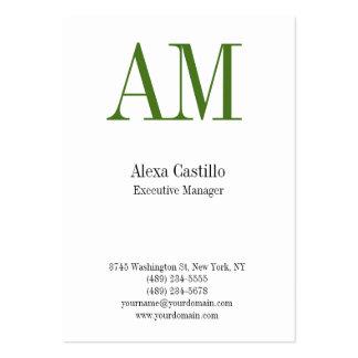 Monograma verde blanco profesional vertical tarjetas de visita grandes