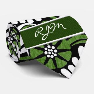 Monograma verde, blanco y negro retro de la hoja corbata