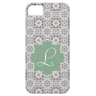 Monograma verde claro con mosaico de azulejo 7 funda para iPhone SE/5/5s