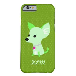 Monograma verde de la chihuahua funda para iPhone 6 barely there