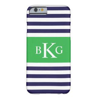 Monograma verde de las rayas de la marina de funda de iPhone 6 barely there