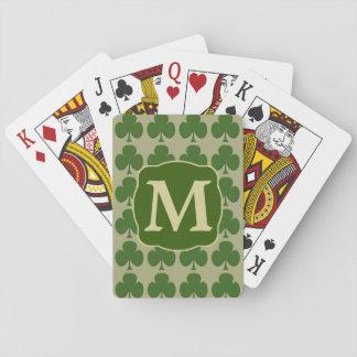 Monograma verde del oro del trébol baraja de póquer