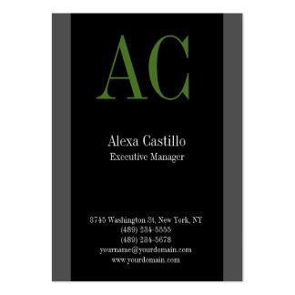 Monograma verde gris negro profesional vertical tarjetas de visita grandes