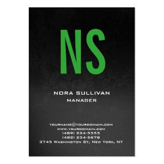 Monograma verde negro gris simple llano único tarjetas de visita grandes