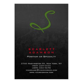 Monograma verde rojo gris profesional elegante tarjetas de visita grandes