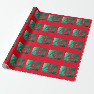 Monograma verde/rojo papel de regalo