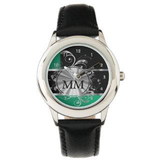 Monograma verde y de plata en negro reloj de pulsera