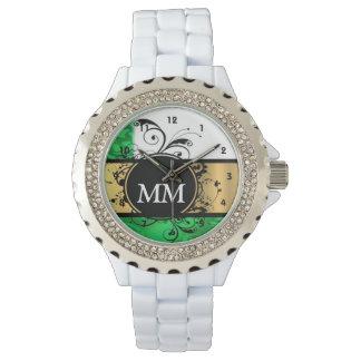 Monograma verde y negro en blanco reloj de pulsera