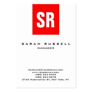 Monograma vertical blanco de la raya roja única tarjetas de visita grandes