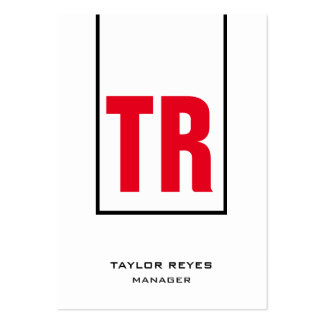 Monograma vertical blanco rojo único de moda tarjetas de visita grandes