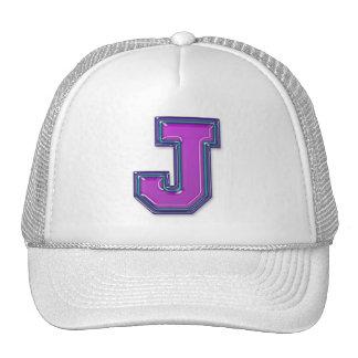 Monograma violeta de la letra J Gorro De Camionero