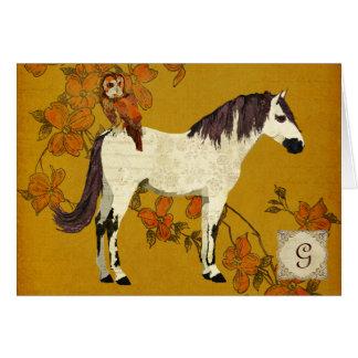 Monograma violeta Notecard del caballo y del búho Felicitacion