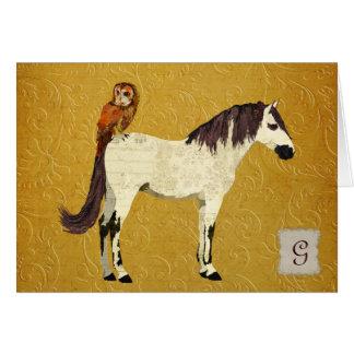 Monograma violeta Notecard del caballo y del búho Tarjeta Pequeña