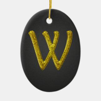 Monograma W del brillo del oro Adorno Navideño Ovalado De Cerámica