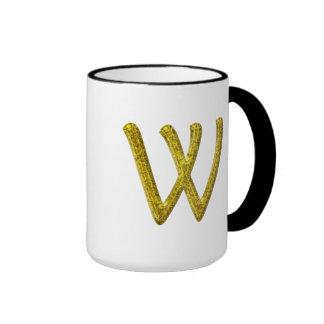 Monograma W del brillo del oro Taza De Dos Colores