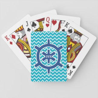 Monograma y Chevron de la rueda de la nave azul Baraja De Póquer