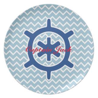 Monograma y Chevron de la rueda de la nave azul Plato
