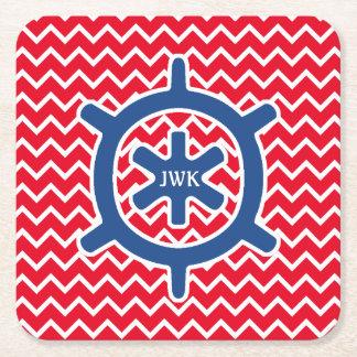 Monograma y Chevron de la rueda de la nave azul Posavasos Personalizable Cuadrado