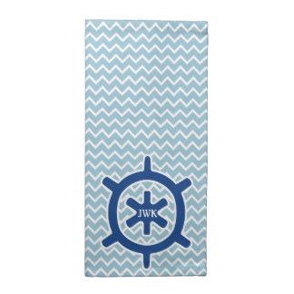 Monograma y Chevron de la rueda de la nave azul Servilleta Imprimida
