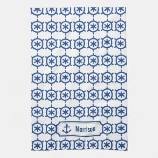 Monograma y Chevron de la rueda de la nave azul Toallas