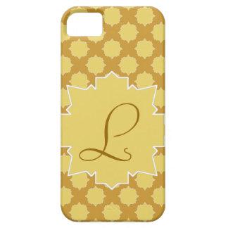 Monograma y mosaico árabesco amarillo y oro iPhone 5 cobertura