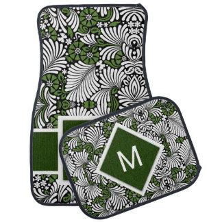 Monograma y verde intrépidos con la impresión alfombrilla de coche