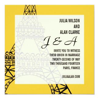 Monogramas que casan el amarillo de París de la Invitación 13,3 Cm X 13,3cm