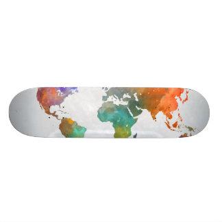 Monopatín 21,1 Cm Mapa del mundo en acuarela