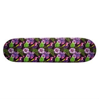 Monopatín 21,1 Cm Modelo tropical púrpura negro de la acuarela de la