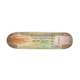 Monopatín del billete de dólar de 1.000 Hong Kong